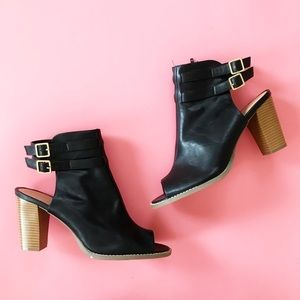 Lane Bryant 12W Black Faux Leather Ankle Boots
